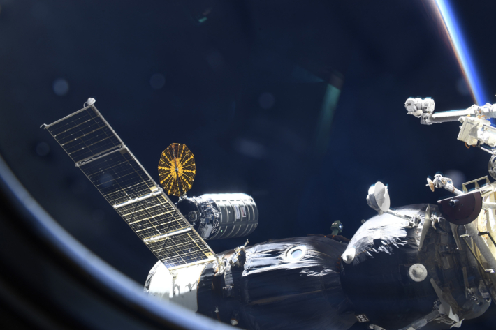 The Cygnus Cargo Ship arrival at the Space Station
