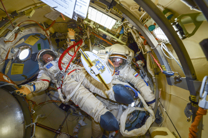 Training in Space Suits and adjustment of Space Suits
